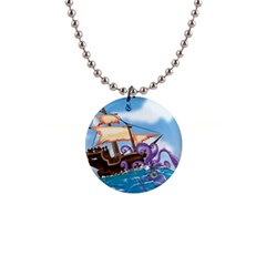 Pirate Ship Attacked By Giant Squid Cartoon Button Necklace