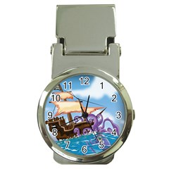 Pirate Ship Attacked By Giant Squid cartoon Money Clip with Watch
