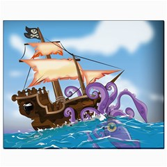 Pirate Ship Attacked By Giant Squid cartoon Canvas 8  x 10  (Unframed)