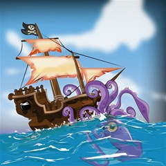 Pirate Ship Attacked By Giant Squid cartoon Canvas 12  x 12  (Unframed)