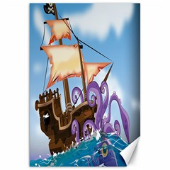 Pirate Ship Attacked By Giant Squid Cartoon Canvas 20  X 30  (unframed)