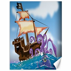 Pirate Ship Attacked By Giant Squid cartoon Canvas 36  x 48  (Unframed)