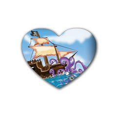 Pirate Ship Attacked By Giant Squid cartoon Drink Coasters (Heart)