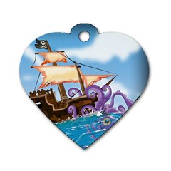 Pirate Ship Attacked By Giant Squid cartoon Dog Tag Heart (Two Sided)