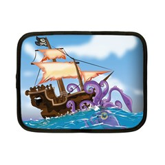 Pirate Ship Attacked By Giant Squid Cartoon Netbook Sleeve (small)