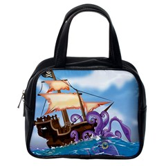 Pirate Ship Attacked By Giant Squid cartoon Classic Handbag (One Side)