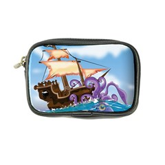 Pirate Ship Attacked By Giant Squid cartoon Coin Purse