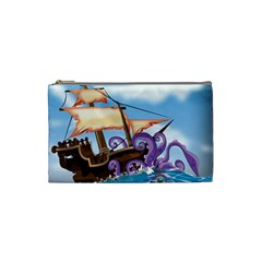 Pirate Ship Attacked By Giant Squid cartoon Cosmetic Bag (Small)