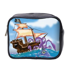 Pirate Ship Attacked By Giant Squid Cartoon Mini Travel Toiletry Bag (two Sides)