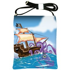 Pirate Ship Attacked By Giant Squid Cartoon Shoulder Sling Bag