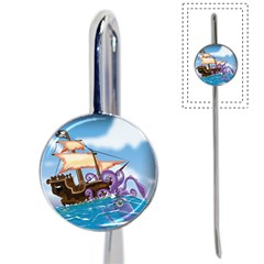 Pirate Ship Attacked By Giant Squid Cartoon Bookmark