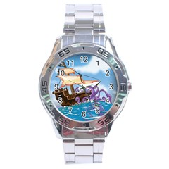 Pirate Ship Attacked By Giant Squid Cartoon Stainless Steel Watch