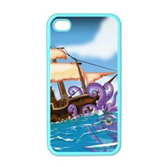 Pirate Ship Attacked By Giant Squid cartoon Apple iPhone 4 Case (Color)