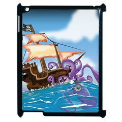Pirate Ship Attacked By Giant Squid cartoon Apple iPad 2 Case (Black)