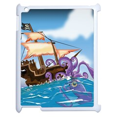 Pirate Ship Attacked By Giant Squid cartoon Apple iPad 2 Case (White)