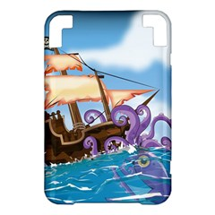 Pirate Ship Attacked By Giant Squid cartoon Kindle 3 Keyboard 3G Hardshell Case