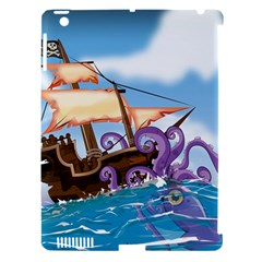 Pirate Ship Attacked By Giant Squid Cartoon Apple Ipad 3/4 Hardshell Case (compatible With Smart Cover)
