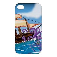 Pirate Ship Attacked By Giant Squid cartoon Apple iPhone 4/4S Premium Hardshell Case