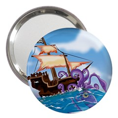 Pirate Ship Attacked By Giant Squid Cartoon 3  Handbag Mirror