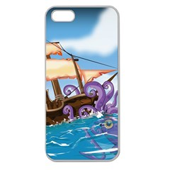 Pirate Ship Attacked By Giant Squid Cartoon Apple Seamless Iphone 5 Case (clear)