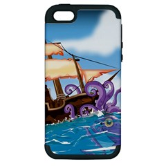 Pirate Ship Attacked By Giant Squid Cartoon Apple Iphone 5 Hardshell Case (pc+silicone)