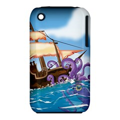 Pirate Ship Attacked By Giant Squid cartoon Apple iPhone 3G/3GS Hardshell Case (PC+Silicone)
