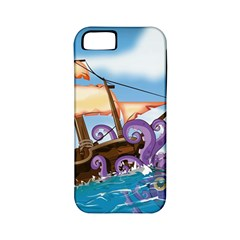 Pirate Ship Attacked By Giant Squid cartoon Apple iPhone 5 Classic Hardshell Case (PC+Silicone)