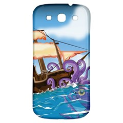 Pirate Ship Attacked By Giant Squid cartoon Samsung Galaxy S3 S III Classic Hardshell Back Case