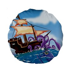 Pirate Ship Attacked By Giant Squid Cartoon 15  Premium Round Cushion
