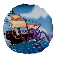 Pirate Ship Attacked By Giant Squid Cartoon 18  Premium Round Cushion