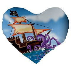 Pirate Ship Attacked By Giant Squid cartoon 19  Premium Heart Shape Cushion