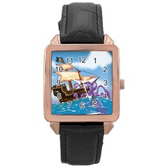 Pirate Ship Attacked By Giant Squid cartoon Rose Gold Leather Watch