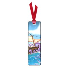 Pirate Ship Attacked By Giant Squid cartoon Small Bookmark