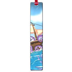 Pirate Ship Attacked By Giant Squid Cartoon Large Bookmark