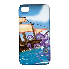 Pirate Ship Attacked By Giant Squid cartoon Apple iPhone 4/4S Hardshell Case with Stand