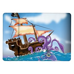 Pirate Ship Attacked By Giant Squid Cartoon Samsung Galaxy Tab 10 1  P7500 Flip Case