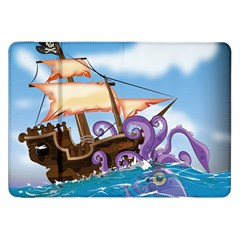 Pirate Ship Attacked By Giant Squid cartoon Samsung Galaxy Tab 8.9  P7300 Flip Case