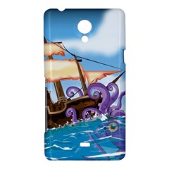 Pirate Ship Attacked By Giant Squid cartoon Sony Xperia T Hardshell Case