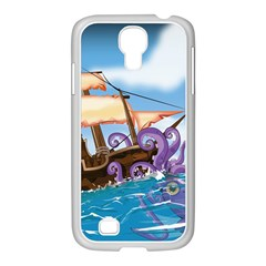 Pirate Ship Attacked By Giant Squid cartoon Samsung GALAXY S4 I9500/ I9505 Case (White)