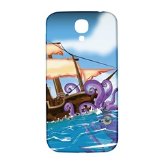 Pirate Ship Attacked By Giant Squid cartoon Samsung Galaxy S4 I9500/I9505  Hardshell Back Case