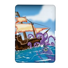 Pirate Ship Attacked By Giant Squid Cartoon Samsung Galaxy Tab 2 (10 1 ) P5100 Hardshell Case