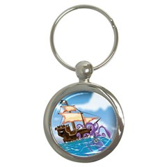 PiratePirate Ship Attacked By Giant Squid  Key Chain (Round)