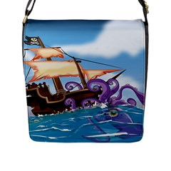 PiratePirate Ship Attacked By Giant Squid  Flap Closure Messenger Bag (Large)