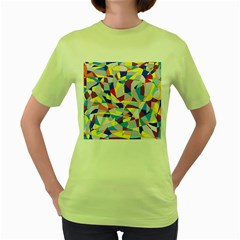 Fractured Facade Women s T-shirt (Green)