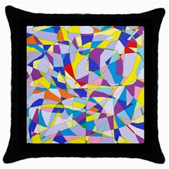 Fractured Facade Black Throw Pillow Case