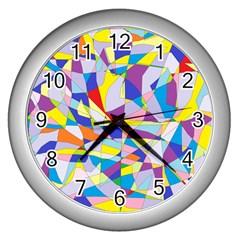 Fractured Facade Wall Clock (silver)