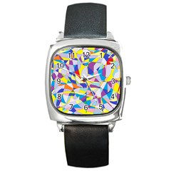 Fractured Facade Square Leather Watch