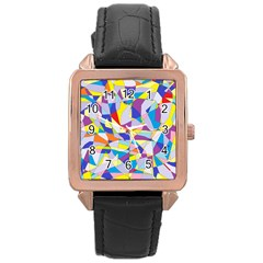 Fractured Facade Rose Gold Leather Watch
