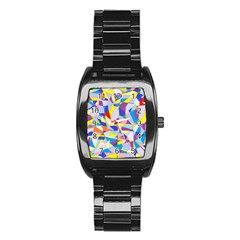 Fractured Facade Stainless Steel Barrel Watch