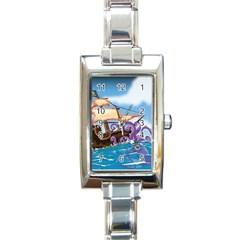 Pirate Ship Attacked By Giant Squid cartoon. Rectangular Italian Charm Watch